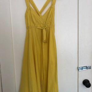 Yellow Cross-Back Anthropologie Maeve Dress - 2